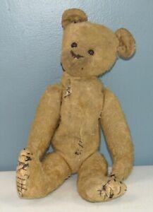 """ANTIQUE Mohair TEDDY BEAR Well Loved 11"""""""
