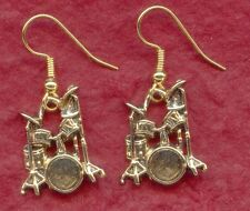 Drum Earrings Gold Plated drop dangle drummer drumming great jewellery jewelry
