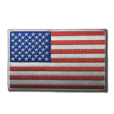 """Embroidered 5"""" American US Flag White Border Sew or Iron on Patch Biker Patch"""