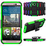 For HTC One M9 Dual Layer Hybrid Swivel Belt Clip Holster Cover Kickstand Case