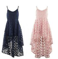 STELLA MORGAN HIGH LOW FISHTAIL FLORAL STRAP LACEWORK CAMI DRESS PINK & BLUE
