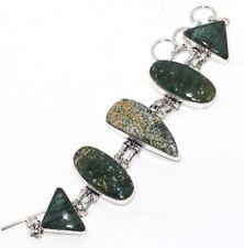 "Bracelet 7.5"" Ethnic Gift Gw Ocean Jasper 925 Sterling Silver Plated"