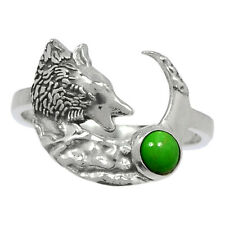 Wolf - Kingman Mohave Green Turquoise 925 Silver Ring Jewelry s.6.5 Br93600