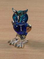TINY CRYSTAL OWL HAND BLOWN CLEAR GLASS ART OWL FIGURINE ANIMAL COLLECTION