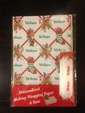 Personalized Holiday Wrapping Paper and Bow (Melissa)