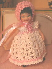 Handmade Doll Dress and Bonnet Handmade for 3 to 4 inch doll