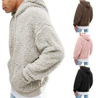 Men's Winter Warm Hoodie Fluffy Fleece Hooded Jacket Plush Sweatshirt Pullover