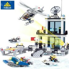 KAZI 6726 Police Station Building Blocks Helicopter Boat Model Bricks Toys Compa