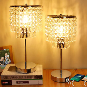 Set of 2 Crystal Touch Control Table Lamp, 3-Way Dimmable Bedside Lamps with Dua