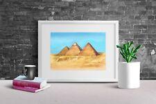"Aquarell Wandbild Fine Art Print ""Pyramiden von Gizeh"" Malerei Kunst Druck 10x15"