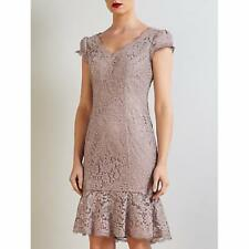 BRUCE OLDFIELD Size 12 Carmel Lace fluted Brown Dress