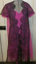 Vtg Hot Pink Sheer Black Lace Overlay Lingerie Open Robe Babydoll Neglige Gown