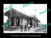 OLD LARGE HISTORIC PHOTO OF LAKEVIEW OHIO THE T&OC RAILROAD DEPOT c1920