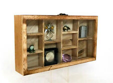 Glass Front Oak Colored Hanging Display Case 10 Compartments