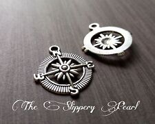 4 Compass Pendants Antiqued Silver Compass Charms Nautical