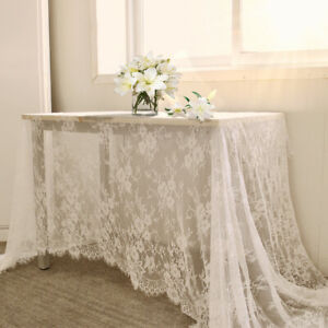 White Vintage Lace Tablecloth Dining Table Cloth Cover Wedding Decor 150x300cm