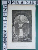 1830 DATED ANTIQUE YORKSHIRE PRINT ~ INTERIOR OF THE GREAT TOWER RICHMOND CASTLE