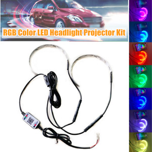 RGB Color LED Car Headlight Projector Kit Bluetooth APP Control Ambient Lights