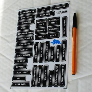 Dashboard Dash Labels Sticker Set Decals in English Grp. 4 Lancia Stratos style