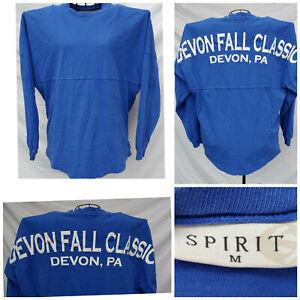 DEVON FALL CLASSIC BLUE LS JERSEY SHIRT Med BIG SPELLOUT HORSE SHOW JUMPING