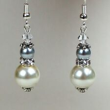 Vintage ivory cream grey pearl silver drop earrings wedding bridesmaid accessory