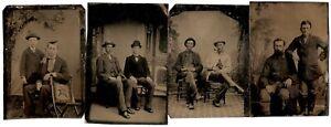 Vintage Males - FOUR Tintypes of Men Together