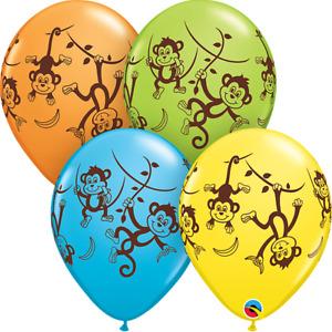 "5 x Children's Mischievous Monkeys 11"" Latex Balloons (Qualatex Helium)"