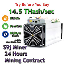 BITCOIN (BTC) mining remote cloud rental contract for 1 Day 14.5 Th/s S9j miner.