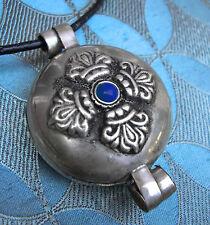 Tolles Tibet GAU Amulett DORJE NEPAL SILBER mit Lapislazuli