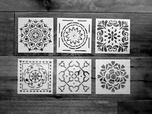 6er Set Schablonen Mandala Nr. 42 Shabby Chic Jugendstil Mandala Malen Möbel