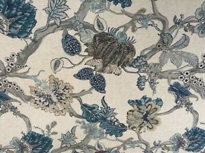 Exotic Floral Vines Teal/Blue Linen/Cotton 280cm wide Curtain/Upholstery Fabric