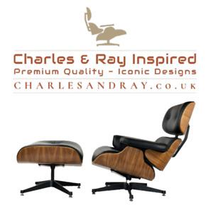 Eams Style - Premium Lounge Chair & Ottoman - Walnut & Black Italian Leather