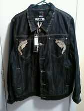 Beautiful Mens Delf Trading INC. Imperious Embroidered Black Denim Jacket XL