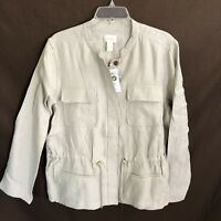 CHICO'S NWT $119 Glistening Feminine Utility Jacket Top in Feather Tan Size 3 XL