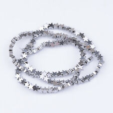 Hematite Gemstone Five-Pointed Star Charm Bracelet Connector Spacer Beads 4/6MM