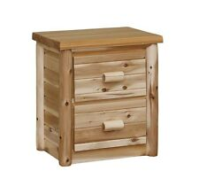 Amish made white cedar  log furniture nightstand with 2 drawers **FREE SHIPPING*