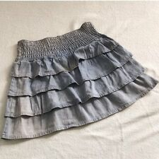 Vivi Japan Kawaii Harajuku Gyaru Cute Cake Tiered Ruffle Chambray Mini Skirt XL