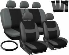 Car Gray & Black Seat Cover for Auto Full Set w/Steering Wheel/Head Rest