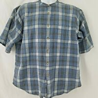 Textures by Natural Issue Men's Shirt Sz XL Vintage Blue Plaid Collarless Button