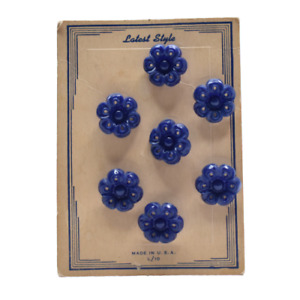 Vintage Flower Buttons on Card 7 Blue Buttons Latest Style Made in USA