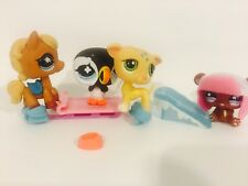 12p littlest pet shop Lps#42 winter fun sled sled ice skates penguin whippet