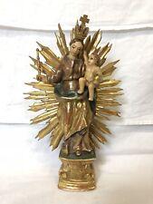 Antike Skulptur Heiligenfigur Maria Königin m Jesukind Holz gefasst 28cm 19. Jh.