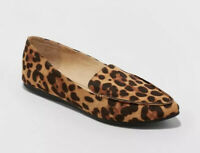 Women's Micah Pointy Toe Loafers - A New Day Size 9W Leopard Print