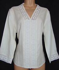 NWT Laura Ashley vintage optic-white linen cotton bobbin lace insert blouse, 16
