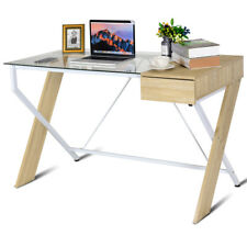 Clear Glass Top Computer Desk Wood Metal Frame with Drawer Home Office Furniture