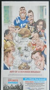 Andrew Luck, Hnchcliffe, Catchings, Pauley, Pence, etc. Indiana Newspaper Art