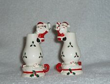 Vintage Christmas Santa MG Hurricane Oil Lamp Salt Pepper Shakers Figurine Candy