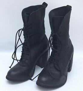 Nutsa Modebadze Black Leather Short Lace Up Heel Boots Size EU 38
