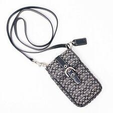 Coach Crossbody Phone Bag Black Branded Canvas Leather Trim Strap Womens