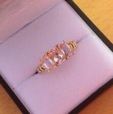 9k Gold Morganite Trilogy Ring Size N